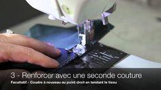 Jeanne Binet fait la démonstration de la technique Jalie pour tissus extensibles qui permet de coudre des tissus stretch à l'aide d'une machine à coudre régu...