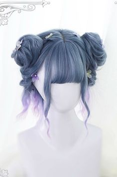 Magical Short Wig Source by Wigs how to make Kawaii Hairstyles, Pretty Hairstyles, Braided Hairstyles, Teen Hairstyles, Unique Hairstyles, Anime Wigs, Anime Hair, Kawaii Wigs, Lolita Hair