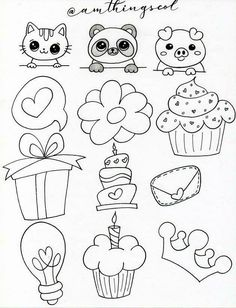 Hand Doodles, Note Doodles, Cute Food Drawings, Drawing Frames, Hand Lettering Alphabet, Sidewalk Chalk, Love Cards, Diy Painting, Coloring Pages