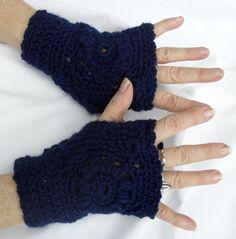 Navy Blue Fingerless Gloves 2005FG by Pepperbelle on Etsy, $15.00