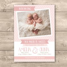 Twin Baby Girl Birth Announcement Digital by InkandCardDesigns