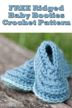 91fa6109d17 FREE Ridged Baby Booties Crochet Pattern ~ Keep those babe s tootsies warm  with this fun