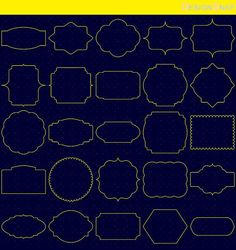 Yellow Classic Digital Frames, Basic Frames, Digital Clipart, Digital Download, Clipart Frame, Frames Clipart, Digital Labels  - 1 Zip folder