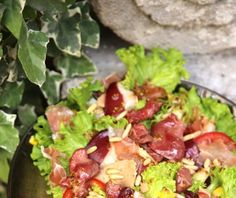 salade, foie gras, jambon cru, asperge, magret de canard fumé, maïs, tomate, gésiers, pignon