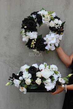 czarno-białe kompozycje kwiatowe z naszej pracowni tenDOM.pl
