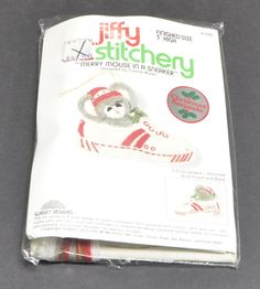 NEW Jiffy Stitchery 'Merry Mouse in Sneaker' 1978 3D Christmas Ornament Kit 100 #SunsetDesigns