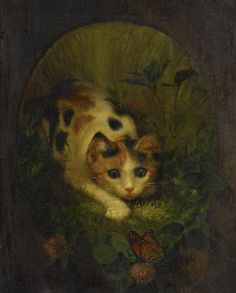 laclefdescoeurs: The Butterfly and the Cat, 1875, Lilly Martin Spencer
