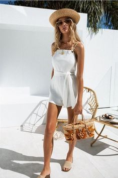 Astin Ribbed Playsuit - Playsuits by Sabo Skirt Spring Summer Fashion, Spring Outfits, White V Necks, Trendy Swimwear, Look Fashion, Beachwear, Summer Looks, Cute Outfits, One Piece