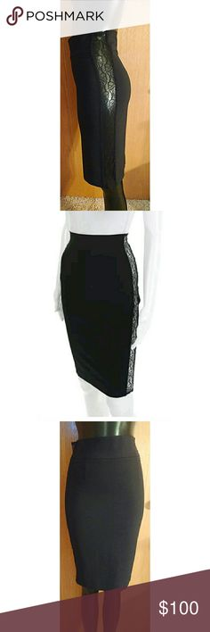 """D&G Black Lace Insert Pencil Skirt SZ 40 US 4 2 Beautiful D&G pencil skirt!! Crafted from a very light virgin wool blend. The sides of this skirt are lace which is transparent showing a sexy little patch of skin down the length of your thighs. Zips up back. High waisted. Hits at knee. Pair with a slinky silk blouse and classic pumps for date night.   Condition: Some pulls in the lace. See photos.   Size 40 translates to a US 4.   Measurements taken laying flat: Waist: 13"""" Hips: 17"""" Length…"""