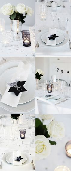 Black and white table setting.  So elegant