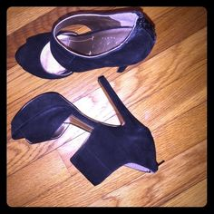 Soft black suede. Back zip. Size 7 Worn once, great condition. BCBG Shoes Heels