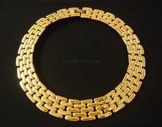 GIVENCHY Paris New York High Shine BOLD Gold Tone Beautiful Basket/Woven Weave Design Egyptian Revival Collar Queen Cleopatra Style Necklace