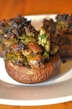 Paleo stuffed mushrooms - with sausage, spinach, onion. Low Carb.