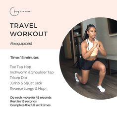 Ariel Belgrave | Health & Fitness Coach & Under Armour Athlete (@gymhooky)  Click image for a video of each exercise. Jump Squats, Lunges, Tricep Dips, Travel Workout, I Got You, Ariel, At Home Workouts, Armour, Exercises