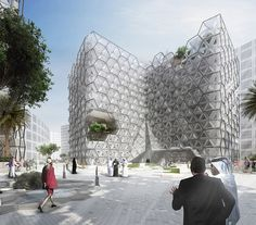 "Adaptable facade with hexagonal parametric pattern for ""Chameleon"" mixed-use office"