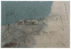 Michael Raedecker - Exhibition - Andrea Rosen Gallery Zone - acrylic and thread on canvas