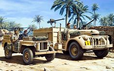 Art illustration - World War II Military Jeep, Military Art, Military History, Military Vehicles, Jeep Willys, Afrika Corps, Special Air Service, North African Campaign, Expedition Truck