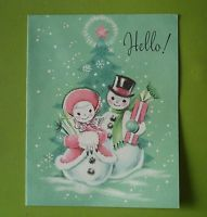 Vtg. Unused  Hampshire Christmas Card-Cute Pastel Snowman Couple Bring Gifts