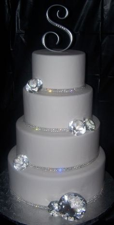 Vancouver Fake Wedding Cakes: Bling Wedding Cake in crystal banding to catch all your guests' attention! Fake Wedding Cakes, Round Wedding Cakes, Wedding Rings, Wedding Flowers, Wedding Bells, Bling Wedding Decorations, Wedding Dresses, Wedding Centerpieces, Pretty Cakes