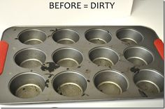 2 great tricks for cleaning up muffin tins! (also read somewhere else: spray easy off oven cleaner on a paper towel, wipe down muffin tin, place in plastic bag overnight, scrub with soap & water [also works for grill racks!])