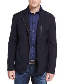 Armani Collezioni Lightweight Water-Resistant Zip Jacket 26eeb9a4ee4