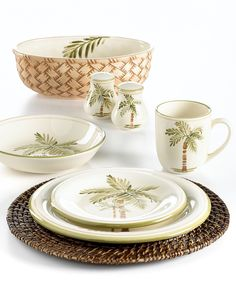 Tropical Dinnerware, Gibson Dinnerware, British Colonial Style, Tropical Decor, Tropical Homes, Tropical Paradise, Fine China, Coconut, Tableware