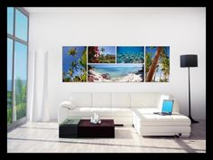Beautiful arrangement of photo canvases