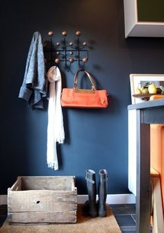 Back in 2010, Herman Miller released a limited edition Hang-It-All in black with walnut knobs. I found it stunning in the pic above, where it is paired against a deep blue wall. The classic Hang-It-All comes in multicolors, but this is far cooler. You can find knock-offs of the limited edition on eBay here, but I couldn't find the real thing. The closest I got was Herman Miller's new all black version (link above), which is also very cool and would look awesome in multiples against a dark…