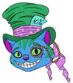 Cheshire cat 7 machine embroidery design. Machine embroidery design. www.embroideres.com
