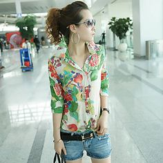 Retro Style Tiny Floral Print Half Sleeve Chiffon Shirt For Women Cute Blouses For Work, Blouses For Women, T Shirts For Women, Women's Blouses, Cheap Blouses, Estilo Retro, Stylish Shirts, Chiffon Shirt, Blouse Vintage