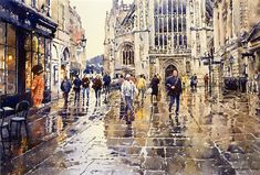 Robert Goldsmith has established his career as an illustrator and watercolourist, developing a style which combines the traditional delicacy of this medium with his contemporary interpretations of everyday scenes. Watercolor City, Watercolor Landscape, Watercolor And Ink, Watercolor Paintings, Watercolors, Crayons Pastel, Bath Uk, Rain Painting, Art Courses