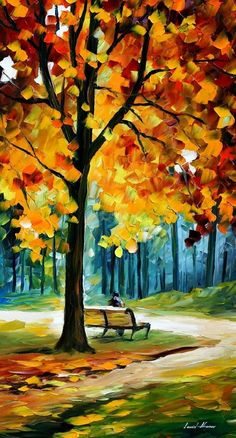 Leonid Afremov, oil on canvas, palette knife, buy original paintings, art, famous artist, biography, official page, online gallery, large artwork, fine, water, landscape, cityscape, fall alley, autumn scene, garden, night park, leaf, rain, walking people #LandscapeOleo #fallcanvaspainting