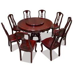 54in Rosewood Round Table with 8 Chairs and Lazy Susan.  Hand-applied cherry finish enhances the beauty of the wood grain. Chinese Style Dining Set. Oriental Style Furniture. Asian Rosewood Dining Furniture.