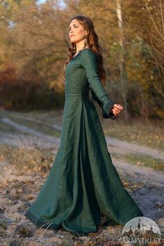 Medieval Renaissance Flax Linen Dress Autumn Princess di armstreet