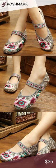 Floral Embroidered Kicks Chinese Mary Jane Shoes Cotton-blend Easy On and Off Non-Skid SoleRubber sole Perfect for costume and daily casual Chinese traditional style Fresh and elegant pattern New in Box Embroidered Kicks Shoes Flats & Loafers