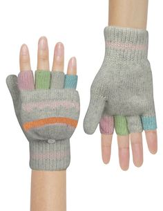 Dahlia Women's Colorful Pop-Top Wool Blend Knit Fingerless Gloves - Light Gray at Amazon Women's Clothing store: