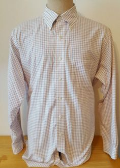 Brooks Brothers Men's Dress Shirt Button Up White Red Blue Plaid Sz 16 1/2 & 34 #BrooksBrothers