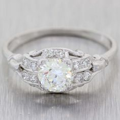 c797628326ab06 Round Cut 1.02ct EGL Platinum Diamond 1.2ctw Antique Art Deco Engagement  Ring t1