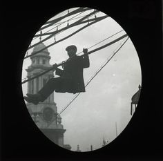 A man hanging off telegraph wires, Post Office, Victorian Era, Spy, The Past, Mail Center