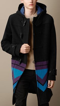 Burberry Brit Geometric Blanket Duffle Coat