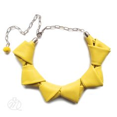 Leather necklace canary yellow LOOPed by Mikashka on Etsy
