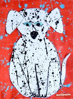 make art with your kids by splattering paint. Cut out into the shapes of animals and add backing. Fun!!