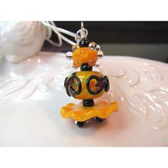 Necklace orange black stacked glass art lampwork beads, crystals (€22) ❤ liked on Polyvore featuring jewelry, necklaces, clear glass necklace, sparkly necklace, chain necklace, handmade jewellery and clear crystal necklace