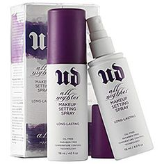 Urban Decay - All Nighter Long-Lasting Makeup Setting Spray Duo  #sephora A must-have, and always use as a finisher :)