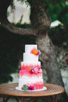colourful spring wedding cake
