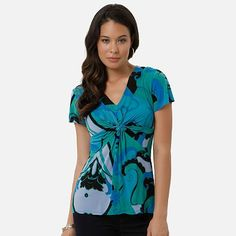 $14.40 daisy fuentes Scroll Knot-Front Empire Top - Petite