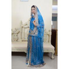 Delicate Ink Blue Rajputi Poshak