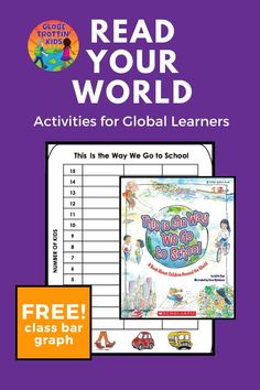 Read about some of the different ways children go to school around the globe including a ferry, trolley car, bus, and helicopter! Find out how your classroom gets to school with our class bar graph activity (makes a great #bulletinboard to help at dismissal time).  Free integrated lesson plan and activities that include #geography, #writing, and #graphing. #rhymingbook #ReadYourWorld #KidLit #geography  #bargraph #kidsaroundtheworld #school #goingtoschool #aroundtheworld #transportation…