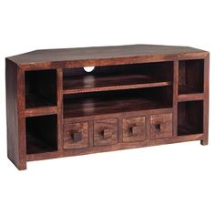 Crafted from solid mango wood, this corner TV stands adds rich texture to a room with a piece that can so often detract from style. jossandmain.co.uk