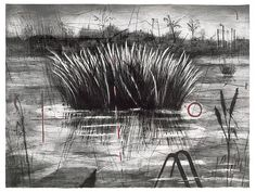 William Kentridge - Reeds 1996 etching, aquatint, drypoint and power-tool printed in black and red, on Arches wove paper. Drawing Sketches, Art Drawings, Collages, South African Artists, Artwork Images, Gravure, Botanical Illustration, Contemporary Artists, Line Art